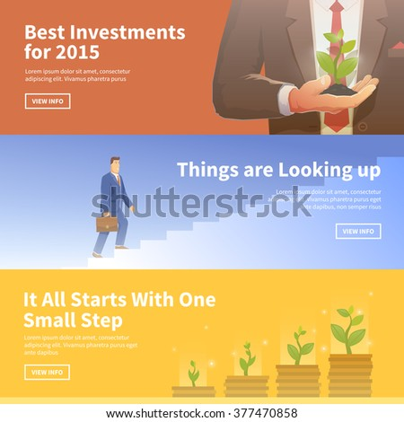 Multicolor stock exchange trading set of web banners. Equity market. World economy major trends. Modern flat design. Best investments. Things are Looking up. Deposit growth. - stock vector