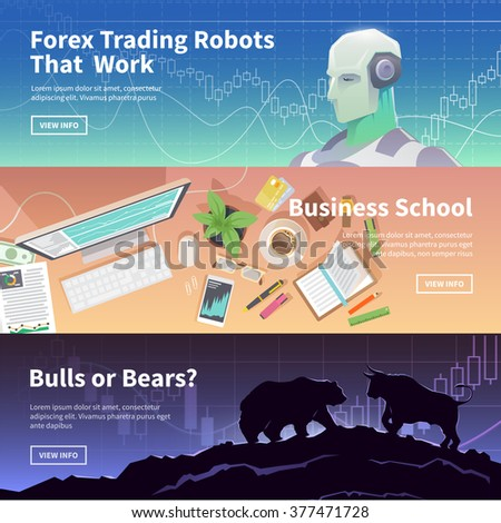 Multicolor stock exchange trading set of web banners. Equity market. World economy major trends. Modern flat design. Forex trading robot. Business school. Bulls or Bears? - stock vector