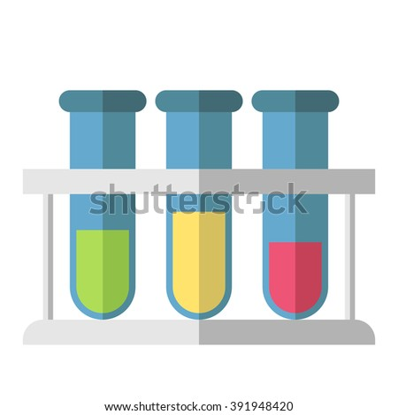 Multicolor test tubes in rack isolated on white. Science, education, chemistry, experiment, school, research concept. EPS 8 vector illustration, no transparency - stock vector