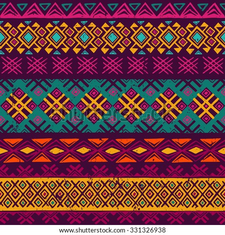 multicolor tribal Navajo seamless pattern. aztec grunge abstract geometric art print. ethnic hipster backdrop.  Wallpaper, cloth design, fabric, paper, wrapping, postcards. hand drawn.   - stock vector