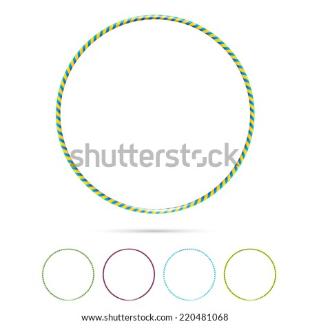 Multicolor vector plastic bangles hula hoop arranged on white background - stock vector