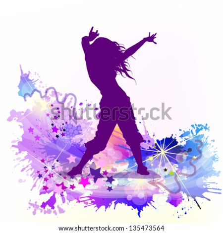 Multicolored abstraction with a dancing girl - stock vector