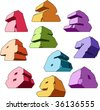 Multicolored alphabet: digits. Vector illustration. - stock vector