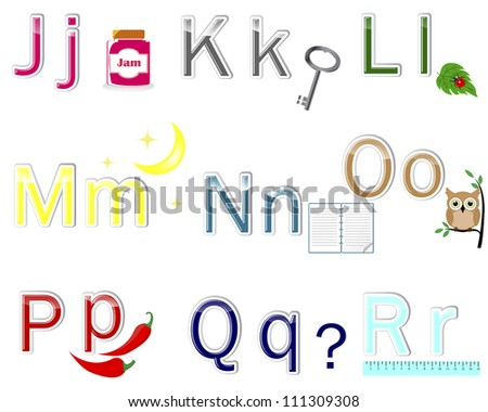 "Multicolored alphabet stickers with cute pictures. letter from ""J"" to ""R"". 10 EPS. Vector illustration. - stock vector"