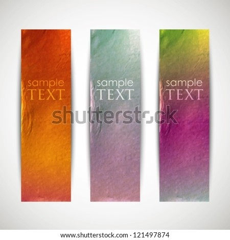 multicolored banners with cardboard texture - stock vector