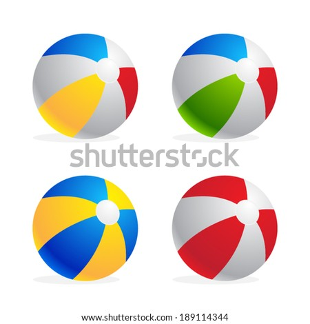 Multicolored beach ball set isolated on white background - stock vector
