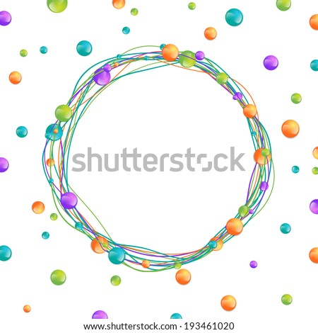 Multicolored Beads Round Frame Over White, Copyspace  - stock vector