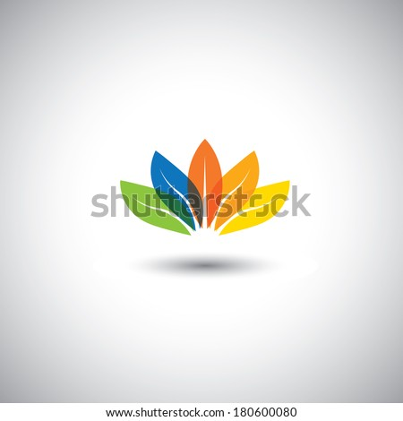 multicolored beautiful spring time floral blossom - vector graphic. This illustration also represents petals of flower arranged together and in red, orange, blue, green & yellow colors, lotus flower - stock vector