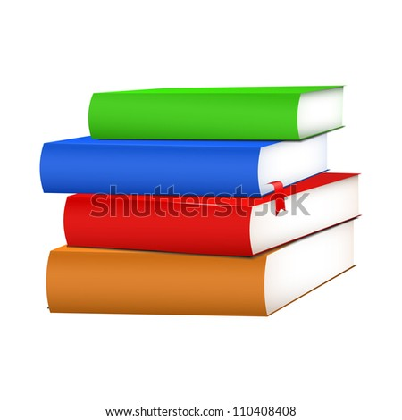 Multicolored books green, red, blue, brown with red bookmark . Vector illustration on white background - stock vector