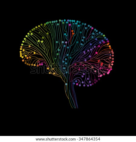 Multicolored brain connections, eps10 vector