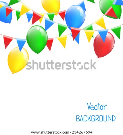 Multicolored bright buntings garlands with inflatable air balls isolated on white background - stock vector