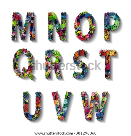 Multicolored Carnival Alphabet with Numbers. illustration.