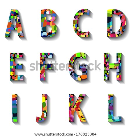 Multicolored Carnival Alphabet with Numbers. Vector illustration. - stock vector