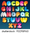 Multicolored Cartoon Vector Font, Set of Isolated Symbols for your Design - stock photo