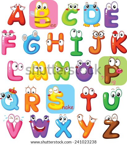 Multicolored Characters Cartoon Vector Alphabets - stock vector