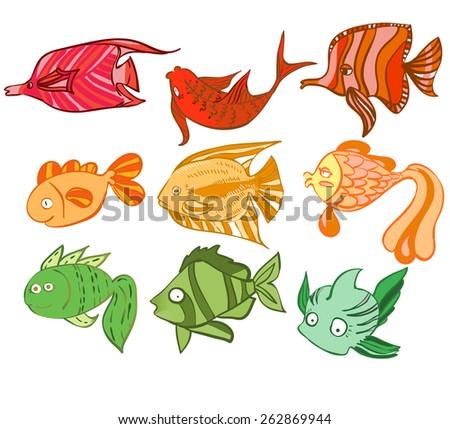 Multicolored charismatic fish. Vector illustration - stock vector