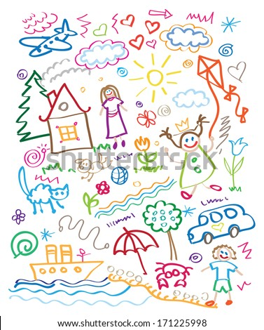 multicolored child drawing style vector set - stock vector