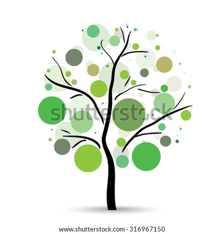 Multicolored circles tree on the white background - stock vector
