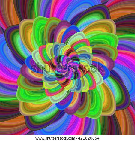 Multicolored computer generated floral fractal background art - stock vector