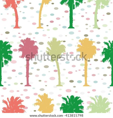 Multicolored contours palm trees on a light background. Vector, pattern - stock vector