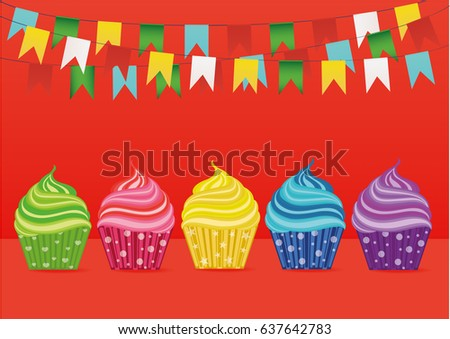 Multicolored cupcakes. Greeting card for the day. Vector. Free space for text or advertising. Garland of paper flags