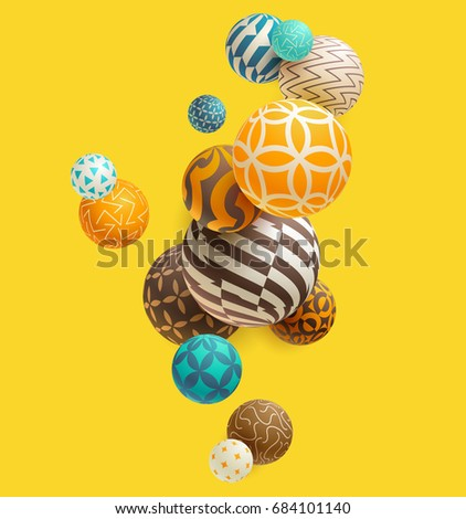 Multicolored decorative balls. Abstract vector illustration.