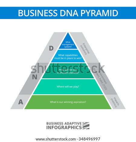 Multicolored diagram of business DNA stacked pyramid