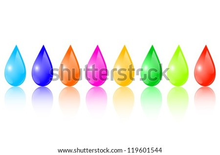Multicolored drops placed horizontally in a row with reflection - stock vector