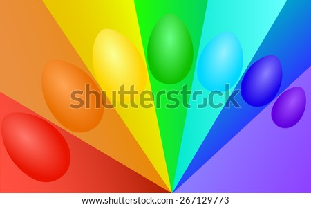 Multicolored eggs on a rainbow background