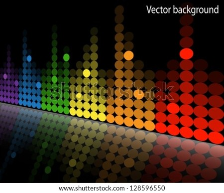multicolored equalizer with reflection beneath the slope. - stock vector
