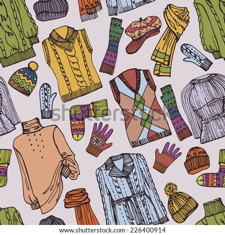 Multicolored Fashionable female knitted clothing and accessories seamless pattern on Sketchy style.For background,fabric,Wallpaper,wrapping paper.Vector. Autumn ,winter,spring woman fashion Vector. - stock vector