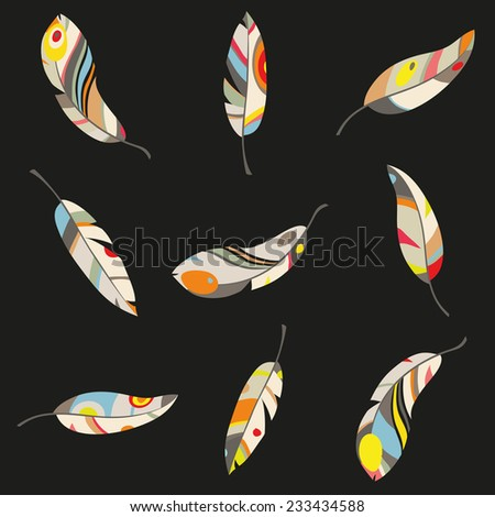 multicolored feathers with contour on a black background, vector illustration - stock vector