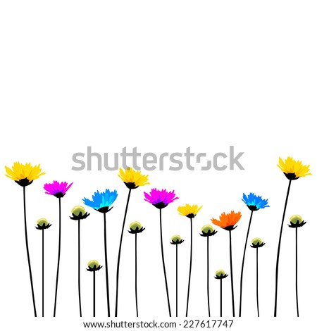Multicolored flowers on a long stalk. Vector