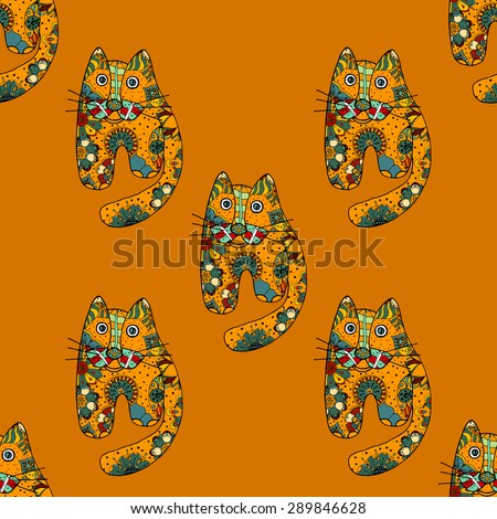 Multicolored funny hand drawn cats vector seamless pattern - stock vector