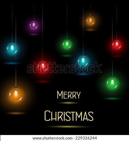 multicolored glassy circle led Christmas lights garlands hanging on black background - stock vector