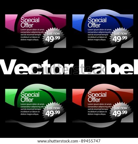 multicolored glossy label in red, blue and green colors