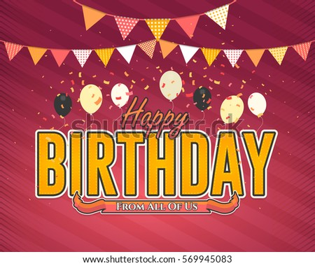 Multicolored Happy Birthday Celebration Design, Vector Ornament Elements, Greeting Card Template Red Colors Background