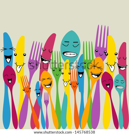 Multicolored happy social cutlery icons seamless pattern . Vector file layered for easy manipulation and custom coloring. - stock vector