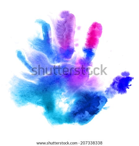 Multicolored human hand print in watercolor style