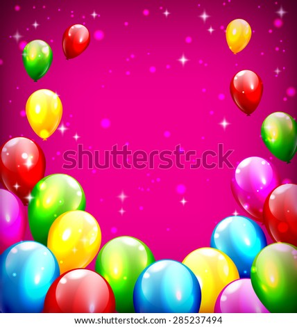 Multicolored inflatable celebration balloons like frame on violet background - stock vector