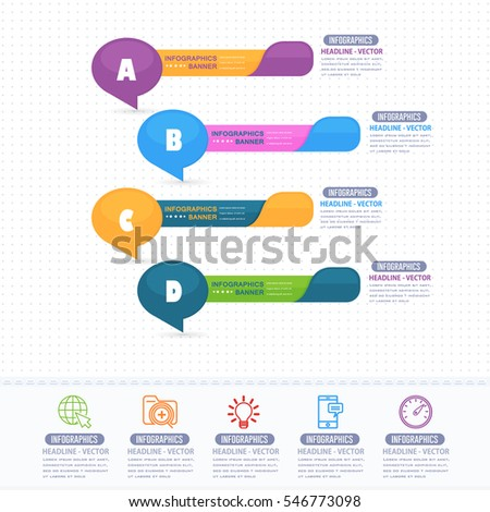 Multicolored Infographics Shapes Illustration, Colorful Glossy Arrows Template with Business Strategy Flat Web Icons. Website Banner Design and Stats Presentation Elements