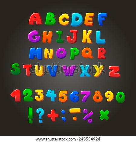 Multicolored kids Vector Font,  letters,  numbers and orthographic symbols - stock vector