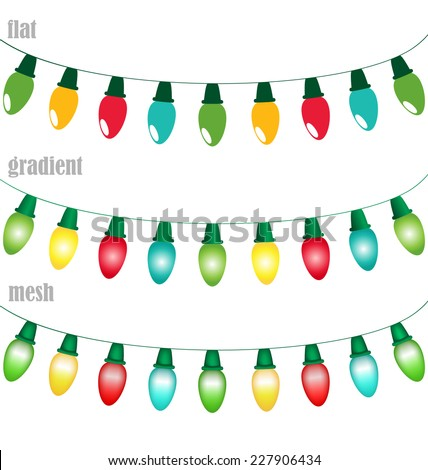 Multicolored led Christmas lights garlands in flat, gradient and mesh styles isolated on white background - stock vector