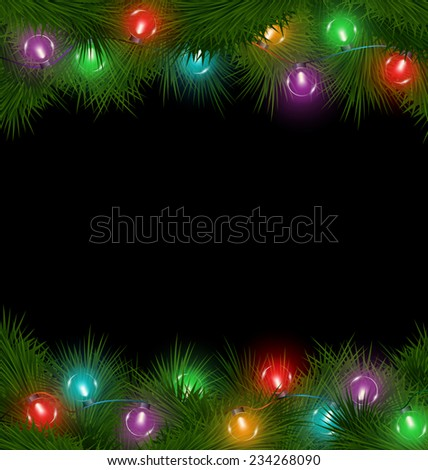 Multicolored led Christmas lights on pine branches isolated on black background - stock vector
