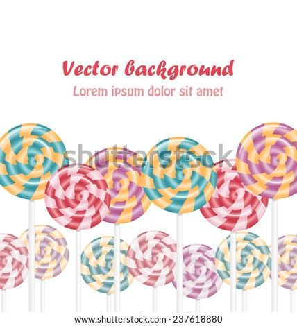 Multicolored lollipops on white background - stock vector