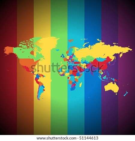 Multicolored map of the World on striped background. Vector illustration. - stock vector