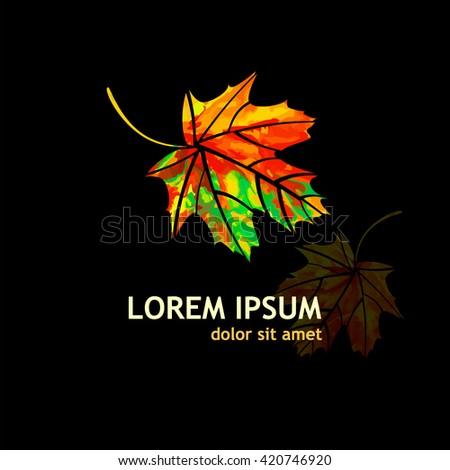 Multicolored maple leaf. Vector - stock vector