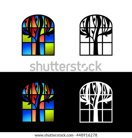 Multicolored Mosaic Glass Window Design Set  - stock vector