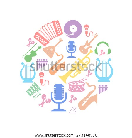 Multicolored music instruments silhouette in  circle shape. Vector illusrtation - stock vector