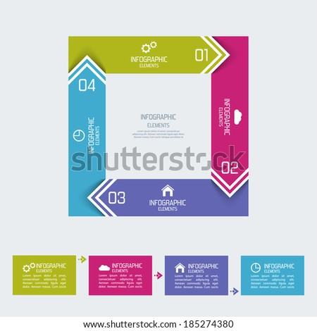 Multicolored paper stickers arrows with numbers and signs.  for info graphic, numbered banners,graphic or website layout vector, template for business reports.  - stock vector